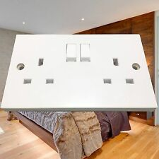 White 2 Gang Twin Switched Double Wall Plug Socket 13 Amp
