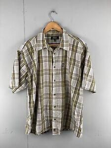 Jeep Men's Short Sleeve Button Up Shirt - Size XL Green Brown Check