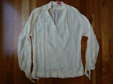 Vtg The Lilly by Lilly Pulitzer Shirt Peasant Top Ivory Gauze Long Sleeve Tie