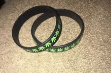 13 Silicone Wristbands Leaf Cannabis Weed Rubber Bracelet Black with Green Leaf
