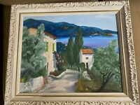 """Betty Berry Spatz """"Villa And Lake Scene"""" Oil Painting - Framed And Signed"""