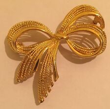 "Vintage Napier Pin Brooch Large Gold Tone Textured Shiny Bow Signed 2 1/2 "" Wide"