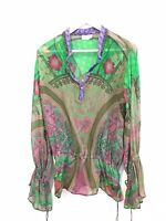 CAMILLA FRANKS BLOUSE TOP Green Blue Pink Beaded Long Sleeve Lace Up Silk RARE