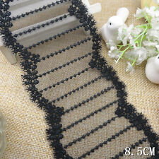 """3 Yards Pretty Scalloped Edge Embroidered Tulle Lace Trim Black 3"""" Wide"""