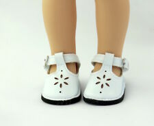 "White Mary Jane Dress Shoes Fits 14.5"" Wellie Wisher American Girl Doll Shoes"