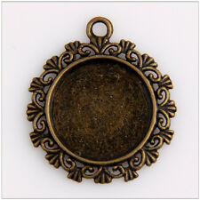 10 Round Photo Frame Cameo Setting Bronze Plated Pendants 30mm EIF0423