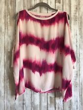 JUICY COUTURE Pink Purple Flowy Tie Dye Cut Out Comfy Top Blouse XS * RARE!