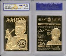 1996 HANK AARON * 755 Home Run King * 23K GOLD CARD - GEM-MINT 10 *Lot of 5*