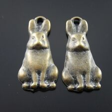 40PCS Antiqued Bronze Tone Alloy Vivid Rabbit Charm Pendant Finding Hot 06222