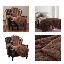 "Chocklate Throw Blanket Soft Long Shaggy Fuzzy Fur Faux Cozy Fluffy Bed 50x65"""