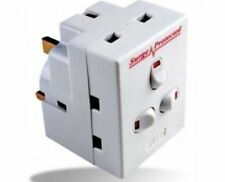 3 Way 13a Switched Surge Protected Adaptor UK Mains Plug-in With Neon