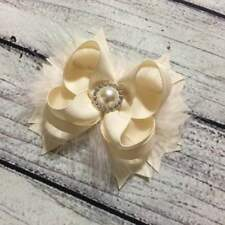 Handmade Ivory With Feather Stacked Boutique Hair Bow,Ivory Flower Girl Hair Bow