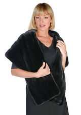Black Mink Fur Stole Cape Wrap for Women Long Ranch Mink Stole