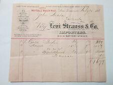 Levi Letterhead Clothing Furnishings Goods ad Orig receipt 1891 Rare antique vin