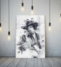 JIMI HENDRIX 4 -DEEP FRAMED CANVAS WALL SKETCH ART PICTURE PAPER PRINT- GREY