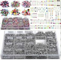 105Pcs Body Jewelry Lots Tongue Eyebrow Lip Belly Navel Ring Piercing Wholesale