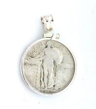 1928 STANDING LIBERTY SILVER QUARTER PENDANT STERLING SILVER BEZEL MOUNTING