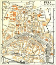 PISA town/city plan. Italy 1953 old vintage map chart
