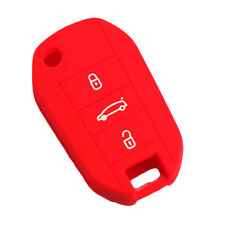 Red Silicone Key Case FOB Cover 3 Buttons for Peugeot 107 207 308 407 508 5008