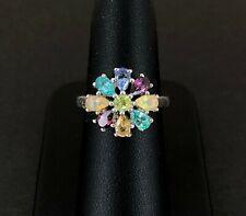 (Pa2) Silver Multi Gemstone Flower Ring 4.9Gms (121503-3-T)