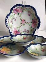 Vtg Porcelain China PORCELAIN Floral Decorated Bowl Dish SET  Hand Painted Japan