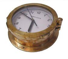 LARGE - SHIP'S CLOCK – Marine WALL Clock – BRASS -  NAUTICAL / BOAT (1009)