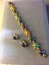 """KJL Kenneth Jay Lane Turtle Bracelet  7""""  Multi-Colored And Blue Turtle Earrings"""