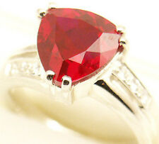 Gorgeous Lab Created Ruby Silver Ring #56 July S 7.5