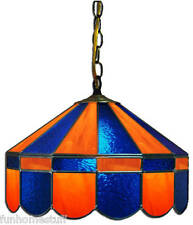"""BLUE & ORANGE 16"""" STAINED GLASS HANGING PUB TABLE ACCENT LIGHT FIXTURE BAR LAMP"""