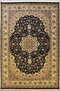Rugstc 7x10 Senneh Pak Persian Black  Rug, Hand-Knotted,Floral with Silk/Wool