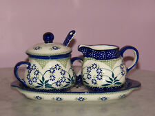 Polish Pottery Cream And Sugar 4 PC Set! UNIKAT Signature Exclusive Cyndia!