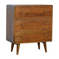 Mid Century Style Chest Of Drawers Solid Dark Wood