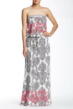HALE BOB $259 Stretch Embroidered Strapless Smocked Maxi Dress Size Small