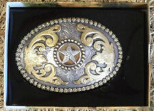 NOCONA OVAL BERRY EDGE AND STAR WESTERN BELT BUCKLE