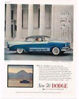 1956 Dodge Custom Royal Lancer 2-tone Blue 2-door Coupe Vtg Print Ad