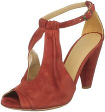 COCLICO SHOES ODALISK T-STRAP HEELS RED SUEDE 37.5 PEEP TOES $338