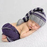Newborn Baby Crochet Bonnet Hat Cap+Pants Warm Photography Prop Outfits 2pcs/set