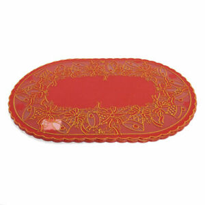 """Christmas Holiday Red and Gold Vinyl 18"""" Oval Placemats,  Set of 4"""