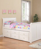 Twin Sleigh Captain's Bed with Trundle and Storage