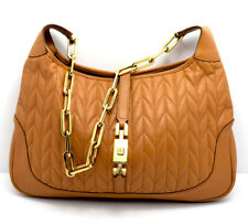 Authentic Gucci Jackie Tan Leather Shoulder Bag Handbag With Gold Chain