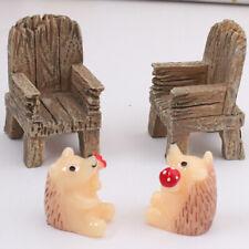 2Pcs Dollhouse Mini Simulation Resin Chair Fairy Garden Landscape Ornament Mgic