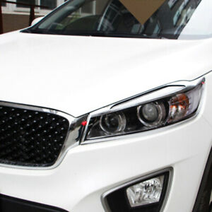 For KIA Sorento 2016-2018 Chrome Front Front Head Light Lamp Light Cover trim