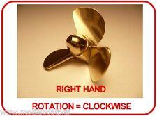 BRASS MODEL BOAT PROPELLER 50mm 3 BLADE RIGHT HAND M4 ( CLOCKWISE ROTATION )