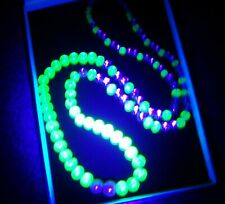 "VINTAGE ART DECO LIME JUICE POOLS OF LIGHT URANIUM LUSTRE FOIL BEAD 25"" NECKLACE"