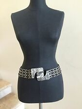 "NWOT SUZI ROHER Antique Silver-tone Metal Black 32.5"" Stretch Belt"