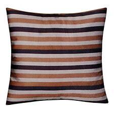 Brown Cream Striped Velvet Feel Plush Cushion Cover for Sofa Bed Silk Satin Back