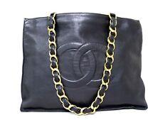 rk5114 Auth CHANEL Black Lambskin Leather Jumbo Chain Shopper Tote Shoulder Bag