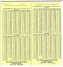 LAPD Citation guide police issued, California Vehicle Code, H&S, Muni Codes 2015