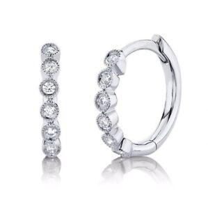 14K WHITE GOLD DIAMOND BEZEL SMALL HUGGIE HOOP EARRINGS #620