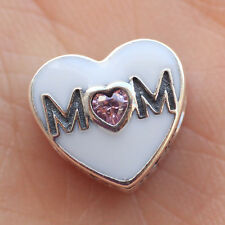 S925 sterling silver Mum Mom Mother Pink Heart CZ European Charm Bead F Bracelet